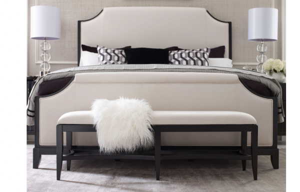 luxury home furniture bedroom with white, grey and black color scheme including white and black bed with white lamps