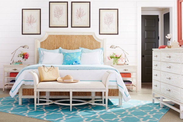 luxury home furniture master bedroom with light blue and white color scheme with white furniture and light blue accents