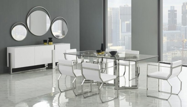 luxury dining room with modern metal and glass table with white and metal chairs