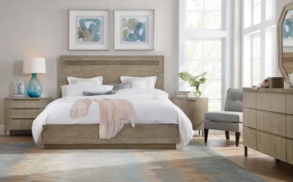 luxury home furniture bedroom with wood furniture and white bedding with light blue accents
