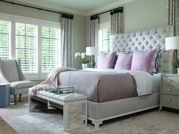 luxury home furniture master bedroom with grey and purple scheme with light green accents