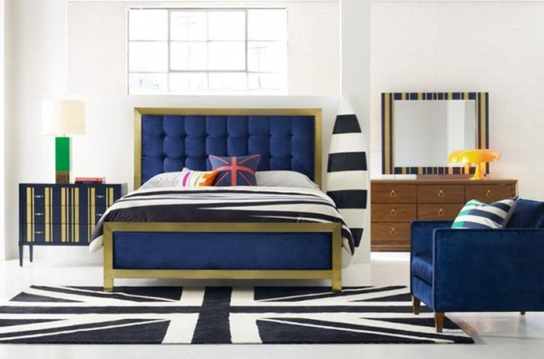 luxury home furniture bedroom with blue, white and gold colors with blue and gold bed, blue chair and blue and gold nightstand