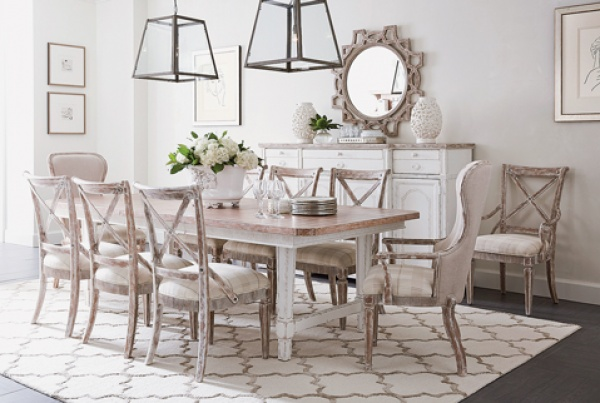luxury dining room with brown and white tables and chairs
