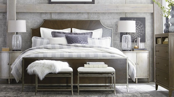 luxury home furniture master bedroom with wooden bed frame and dresser with white, grey, and blue color scheme