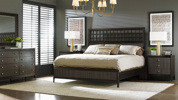 luxury home furniture with black and brown color scheme with black and brown wood furniture and cream colored bedding