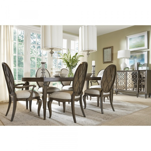 luxury dining room with wooden dining room set with six chairs and grey accents