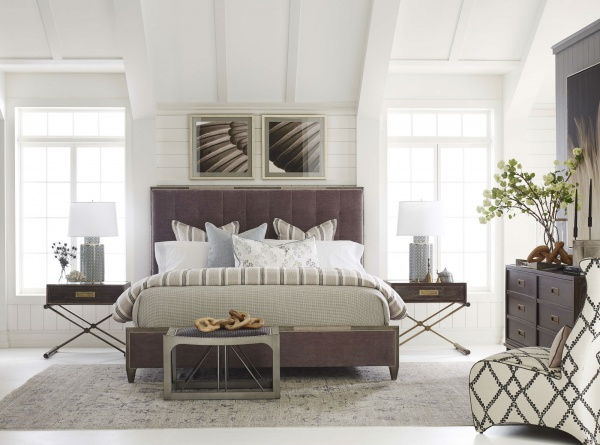 luxury home furniture master bedroom with grey and purple color scheme including dark wood furniture
